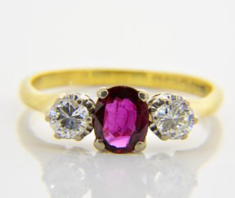 ruby diamond three stone ring