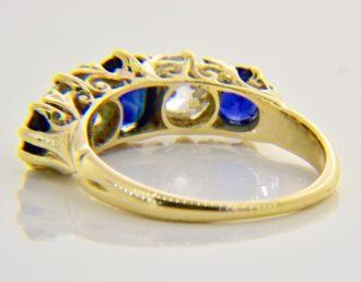 sapphire diamond five stone ring