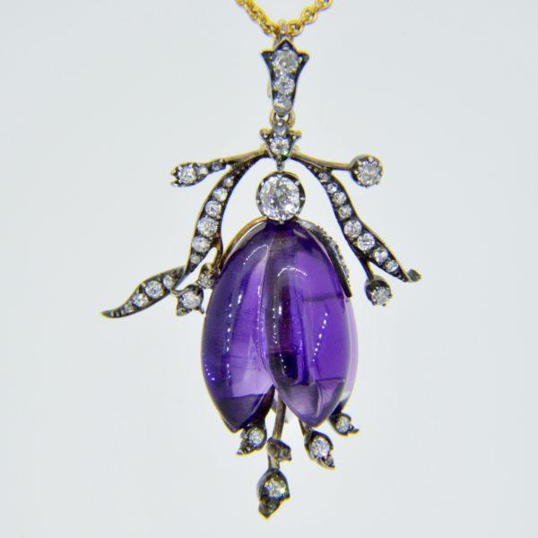 Fuchsia pendant - a Victorian amethyst diamond fuchsia pendant