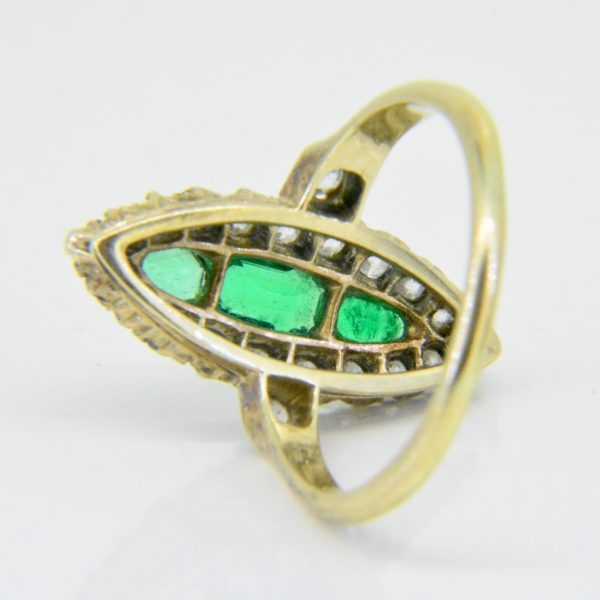 emerald diamond marquise ring c.1900