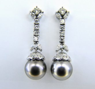Dark grey cultured pearl and diamond drop earrings
