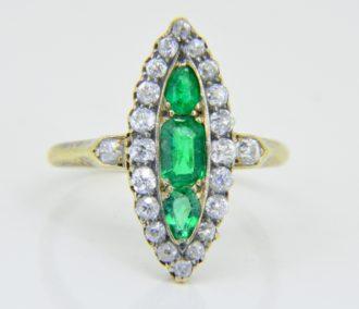 emerald diamond marquise ring c.1900