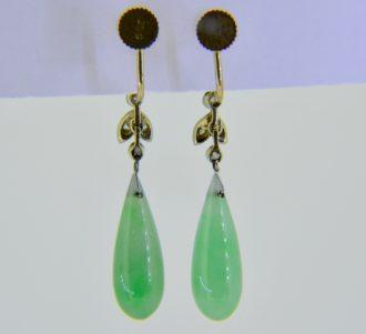 Pair of jade, diamond and seed pearl drop earrings c.1930