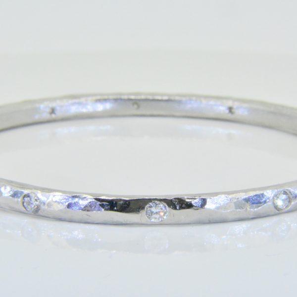 Arts and Crafts style platinum diamond bangle