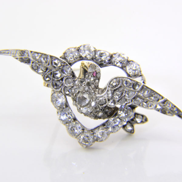 victorian diamond heart dove brooch