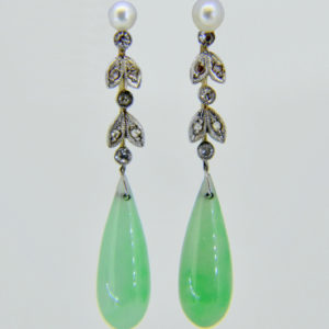 Pair of jade, diamond and seed pearl drop earrings c.1930