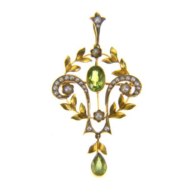 9ct gold, peridot seed pearl pendant