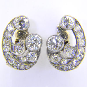 1930s diamond scroll ear clips
