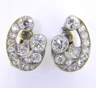1930s diamond scroll ear clips