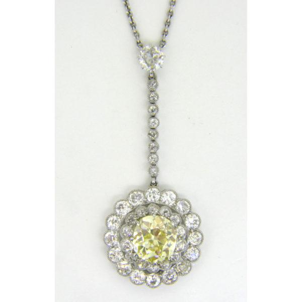 yellow diamond pendant 2.97cts